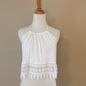 White halter top with lace